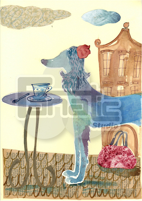 Illustration of dog at outdoor cafe