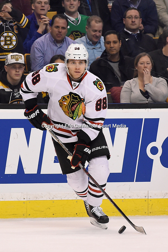 Thursday, March 3, 2016: Chicago Blackhawks right wing Patrick Kane (88) in game action during the National Hockey League game between the Chicago Blackhawks and the Boston Bruins, held at TD Garden, in Boston, Massachusetts. Boston defeated Chicago 4-2. Eric Canha/CSM
