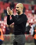 Manchester City Manager Josep Guardiola thanks the fans at the end of the premier league match at the Wembley Stadium, London. Picture date 14th April 2018. Picture credit should read: Robin Parker/Sportimage