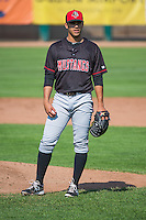 Billings Mustangs starting pitcher Jose Lopez (43) during the game against the Ogden Raptors in Pioneer League action at Lindquist Field on August 16, 2015 in Ogden, Utah.Billings defeated Ogden 6-3.  (Stephen Smith/Four Seam Images)