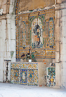 Decorative tiles at the Santo Amaro Chapel in Lisbon, Portugal