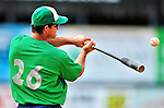 24 July 2010: Vermont Lake Monsters Manager Jeff Garber hits grounders to his infielders prior to a game against the Lowell Spinners at Centennial Field in Burlington, Vermont. The Lake Monsters fell to the Spinners 11-5 in NY Penn League action. Mandatory Credit: Ed Wolfstein Photo