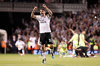 Aleksander Mitrovic of Fulham shows his delight at winning during the Sky Bet Championship play off semi final 2nd leg match between Fulham and Derby County at Craven Cottage, London, England on 15 May 2018. Photo by Carlton Myrie / PRiME Media Images.