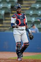 Tennessee Smokies catcher Jair Fernandez #18 during a game against the Huntsville Stars on April 16, 2013 at Joe W Davis Municipal Stadium in Huntsville, Alabama.  Tennessee defeated Huntsville 4-3.  (Mike Janes/Four Seam Images)