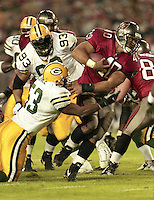 Mike Alstott runs the ball as his Tampa bay Buccaneers defeat the Green Bay Packers 29-10 December 26, 1999.  (Photo by Brian Cleary/www.bcpix.com)