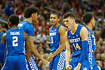 Kentucky Wildcats guard Tyler Herro (14) reacted to a three pointer during their game at the KFC Yum Center on Saturday Dec. 29, 2018 in Louisville, Ky.