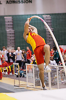 Pittsburg State junior Colbie Snyder attempts to clear 16-10 in the pole vault at the 2012 MIAA Indoor Track & Field Championships at Missouri Southern State University in Joplin, MO February, 26. Snyder won the event clearing a personal record and nationals automatic qualifying mark  of 16-10.