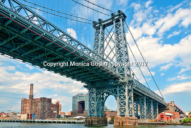 Williamsburg Bridge on the East River; suspension bridge built between 1896 and 1903
