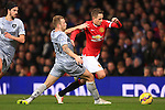 Adnan Januzaj of Manchester United skips past Scott Arfield of Burnley - Manchester United vs. Burnley - Barclay's Premier League - Old Trafford - Manchester - 11/02/2015 Pic Philip Oldham/Sportimage