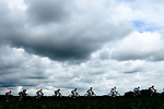 Dark clouds loom over the peleton during Stage 2 of the 2018 Criterium du Dauphine 2018 running 181km from Montbrison to Belleville, France. 5th June 2018.<br /> Picture: ASO/Alex Broadway | Cyclefile<br /> <br /> <br /> All photos usage must carry mandatory copyright credit (&copy; Cyclefile | ASO/Alex Broadway)