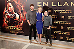 (L-R) Actors Liam Hemsworth, Jennifer Lawrence and Josh Hutcherson attend the Spanish photocall during the premiere of the film 'The Hunger Games: Catching Fire' (Tribute von Panem - Catching Fire) at Villamagna Hotel in Madrid, Spain. November 13, 2013. (ALTERPHOTOS/Victor Blanco)