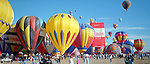 INFLATED, COLORFUL HOT AIR BALLOONS on GROUND at the ANNUAL ALBUQUERQUE BALLOON  FIESTA<br />