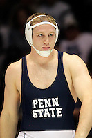 STATE COLLEGE, PA - FEBRUARY 16: Jon Gingrich of the Penn State Nittany Lions during a 285 pound match against the Oklahoma State Cowboys on February 16, 2014 at Rec Hall on the campus of Penn State University in State College, Pennsylvania. Penn State won 23-12. (Photo by Hunter Martin/Getty Images) *** Local Caption *** Jon Gingrich