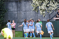 Seattle, WA - Sunday, April 17, 2016: Sky Blue FC celebrates their first goal of the match during the first half at Memorial Stadium. Sky Blue FC defeated the Seattle Reign FC 2-1during a National Women's Soccer League (NWSL) match at Memorial Stadium.