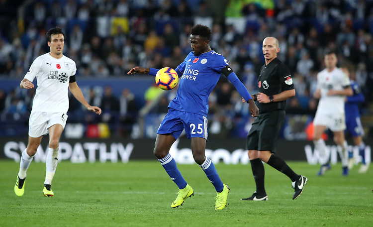 Leicester City's Wilfred Ndidi<br /> <br /> Photographer Rachel Holborn/CameraSport<br /> <br /> The Premier League - Saturday 10th November 2018 - Leicester City v Burnley - King Power Stadium - Leicester<br /> <br /> World Copyright © 2018 CameraSport. All rights reserved. 43 Linden Ave. Countesthorpe. Leicester. England. LE8 5PG - Tel: +44 (0) 116 277 4147 - admin@camerasport.com - www.camerasport.com