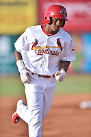 Johnson City Cardinals center fielder Magneuris Sierra (37) rounds the bases after hitting a home run during a game against the Kingsport Mets on June 25, 2015 in Johnson City, Tennessee. The Mets defeated the Cardinals 10-8 (Tony Farlow/Four Seam Images)