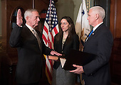 United States Marine Corps General James Mattis is sworn-in as Defense Secretary by Vice President Mike Pence, in the Vice Presidential ceremonial office in the Executive Office Building in Washington, D.C. on January 20, 2017.     <br /> Credit: Kevin Dietsch / Pool via CNP