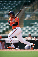 Baltimore Orioles Jomar Reyes (70) at bat during an Instructional League game against the Atlanta Braves on September 25, 2017 at Ed Smith Stadium in Sarasota, Florida.  (Mike Janes/Four Seam Images)