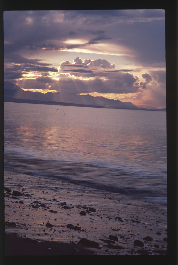 Sunset over Dungeness Spit and the Strait of Juan de Fuca, Dungeness National Wildlife Refuge, Olympic Peninsula, Washington, US