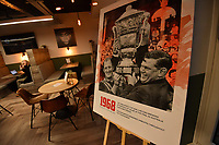 Picture by Simon Wilkinson/SWpix.com - 09/11/2018 - RLWC 2021 Rugby League World Cup 2021 Paul Barrière Trophy - The Cockerel Reveal, Avenue HQ. Leeds<br /> - pop up exhibition of archive heritage imagery
