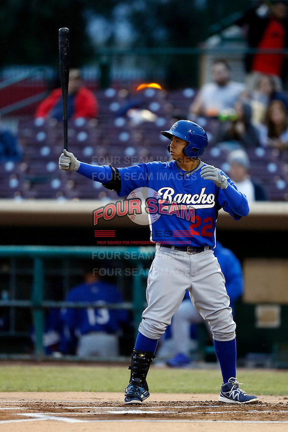 Angelo Songco #22 of the Rancho Cucamonga Quakes bats against the Inland Empire 66'ers at San Manuel Stadium on April 24, 2013 in San Bernardino, California. Inland Empire defeated Rancho Cucamonga, 2-1. (Larry Goren/Four Seam Images)