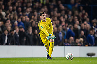 Goalkeeper Thibaut Courtois of Chelsea during the Carabao Cup semi final 1st leg match between Chelsea and Arsenal at Stamford Bridge, London, England on 10 January 2018. Photo by Andy Rowland.