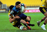 Otere Black is tackled during the Super Rugby match between the Hurricanes and Blues at Westpac Stadium in Wellington, New Zealand on Saturday, 15 June 2019. Photo: Dave Lintott / lintottphoto.co.nz