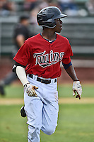 Elizabethton Twins shortstop Nick Gordon #9 runs to first during a game against the  Bristol Pirates at Joe O'Brien Field June 30, 2014 in Elizabethton, Tennessee. The Twins defeated the Pirates 8-5 in game one of a double header. (Tony Farlow/Four Seam Images)