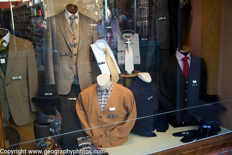 Shop display traditional gentlemen's clothing shop window, Woodbridge, Suffolk, England