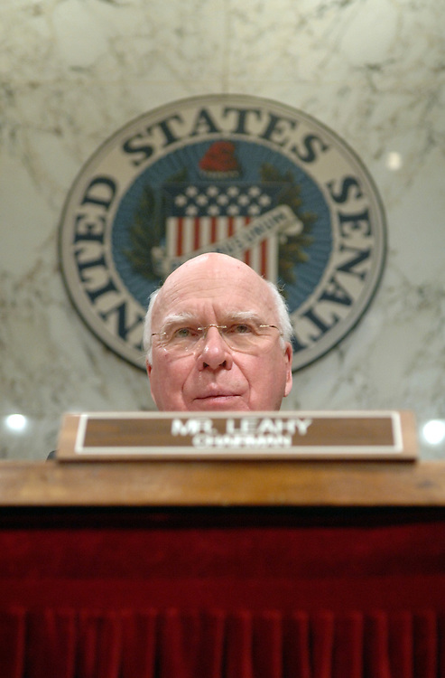 Chairman of the Senate Judiciary Committee Pat Leahy, D-Vt., questions Supreme Court Justice Anthony Kennedy at a  hearing on judicial security and independence.
