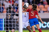HOUSTON, TX - FEBRUARY 03: Jess McDonald #14 of the United States heads the ball past Fabiola Sanchez #5 during a game between Costa Rica and USWNT at BBVA Stadium on February 03, 2020 in Houston, Texas.