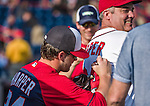 10 March 2014: Washington Nationals outfielder Bryce Harper autographs a jersey prior to a Spring Training game against the Houston Astros at Space Coast Stadium in Viera, Florida. The Astros defeated the Nationals 7-4 in Grapefruit League play. Mandatory Credit: Ed Wolfstein Photo *** RAW (NEF) Image File Available ***