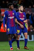 11th January 2018, Camp Nou, Barcelona, Spain; Copa del Rey football, round of 16, 2nd leg, Barcelona versus Celta Vigo; Ousmane Dembélé of FC Barcelona and Jordi Alba of FC Barcelona celebratetheir 5-0 win