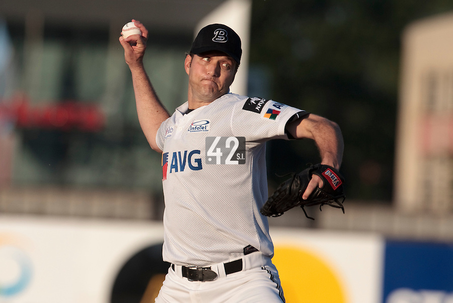 06 June 2010: Starting pitcher Patrick Ahearne of AVG Draci Brno pitches against Rouen during the 2010 Baseball European Cup match won 10-8 by the Rouen Huskies over AVG Draci Brno, at the AVG Arena, in Brno, Czech Republic.