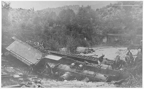 Leased D&amp;RG #217 wrecked at West Durango.  It was caused by a Bridge 162-B washout.  Ralph Peake, an engineer, was killed in the same wreck.<br /> RGS  Durango west, CO  Taken by Ballough, Monte - 9/8/1919