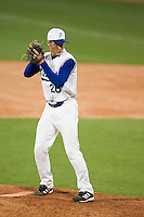 20 August 2007: Pitcher #20 Gregory Cros pitches during the Czech Republic 6-1 victory over France in the Good Luck Beijing International baseball tournament (olympic test event) at the Wukesong Baseball Field in Beijing, China.
