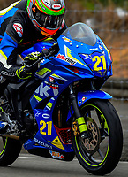 Juan-Peter Siebrits (Wellington) competes in the Gixxer Cup. The 2017 Suzuki series Cemetery Circuit motorcycle racing at Cooks Gardens in Wanganui, New Zealand on Tuesday, 27 December 2017. Photo: Dave Lintott / lintottphoto.co.nz