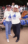 Margot Kidder and Sylvia Miles during the Women In Film softball game on June 1, 1987 in Central Park, New York City.