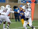 SIOUX FALLS, SD - NOVEMBER 3: Peyton Huslig #15 from Missouri State passes the ball against South Dakota State during their game Saturday afternoon at Dana J. Dykhouse Stadium in Brookings. (Photo by Dave Eggen/Inertia)