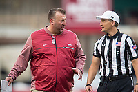 Hawgs Illustrated/BEN GOFF <br /> Bret Bielema, Arkansas head coach, talks to an official at the end of the first half against Coastal Carolina Saturday, Nov. 4, 2017, at Reynolds Razorback Stadium in Fayetteville.