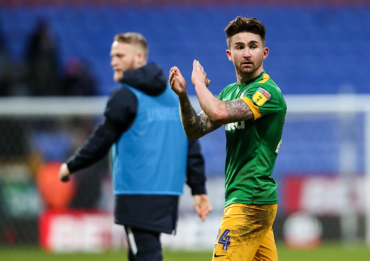 Preston North End's Sean Maguire applauds his side's travelling supporters at the end of the match <br /> <br /> Photographer Andrew Kearns/CameraSport<br /> <br /> The EFL Sky Bet Championship - Bolton Wanderers v Preston North End - Saturday 9th February 2019 - University of Bolton Stadium - Bolton<br /> <br /> World Copyright &copy; 2019 CameraSport. All rights reserved. 43 Linden Ave. Countesthorpe. Leicester. England. LE8 5PG - Tel: +44 (0) 116 277 4147 - admin@camerasport.com - www.camerasport.com