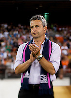 Chicago head coach Frank Klopas watches his team during a Major League Soccer game at RFK Stadium in Washington, DC.  The Chicago Fire defeated D.C. United, 3-0.