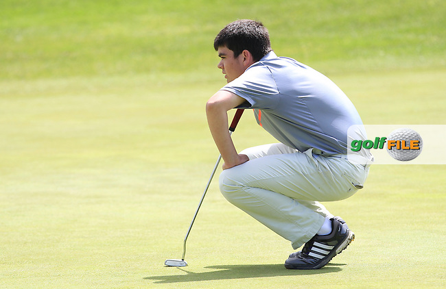 Ciaran Vaughan (Limerick) on the 15th green during Round 3 of the 2016 Connacht U18 Boys Open, played at Galway Golf Club, Galway, Galway, Ireland. 07/07/2016. <br /> Picture: Thos Caffrey | Golffile<br /> <br /> All photos usage must carry mandatory copyright credit   (&copy; Golffile | Thos Caffrey)