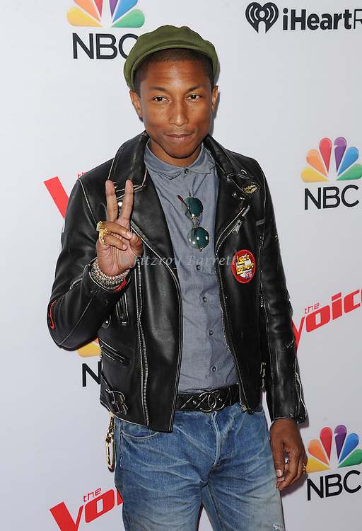 Pharrell Williams arriving NBC's The Voice Season 8 Red Carpet Event held at the Pacific Design Center Los Angeles CA. April 23, 2015