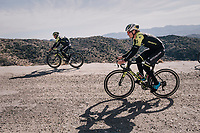 Alexander Edmondson (AUS/Michelton-Scott) &amp; Caleb Ewan (AUS/Michelton-Scott) on a surprise gravel section along the way<br /> <br /> Michelton-Scott training camp in Almeria, Spain<br /> february 2018