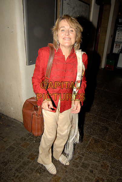 "SINEAD CUSACK.""Cries From The Heart"", Royal Court Theatre, Sloane Square, London, England..June 17th, 2007.full length brown leather bag satchel beige trousers red coat jacket asian style print paisley scarf  .CAP/SW.©Stephen Walters/Capital Pictures"