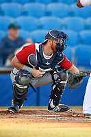 Fort Myers Miracle catcher Taylor Grzelakowski (22) waits to receive a pitch during a game against the Dunedin Blue Jays on April 17, 2018 at Dunedin Stadium in Dunedin, Florida.  Dunedin defeated Fort Myers 5-2.  (Mike Janes/Four Seam Images)