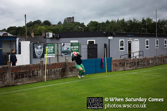 Clitheroe 0 Consett 1, 20/08/2016. Shawbridge, Northern Premier League Division One North. The home team's goalkeeper going through his pre-match warm-up before Clitheroe played Consett at Shawbridge in an FA Cup preliminary round tie. Northern Premier League division one north team Clitheroe were formed in 1877 and have played at the same ground since 1925. Visitors Consett, from the Northern League division one, won the match 1-0, watched by 207 spectators. Photo by Colin McPherson.
