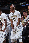 Greg McClinton (11) of the Wake Forest Demon Deacons reacts to a play during second half action against the Pittsburgh Panthers at the LJVM Coliseum on March 1, 2015 in Winston-Salem, North Carolina.  The Demon Deacons defeated the Panthers 69-66.  (Brian Westerholt/Sports On Film)