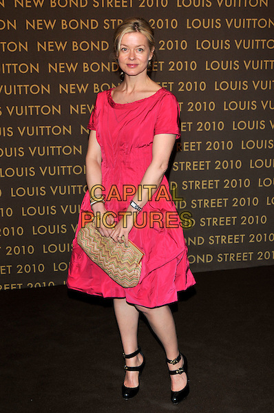 LADY HELEN TAYLOR .attends the launch of the Louis Vuitton Bond Street Maison in London, England, UK, May 25th, 2010..full length bright pink dress black mary janes shoes double strap beige patterned clutch bag .CAP/PL.©Phil Loftus/Capital Pictures.